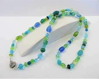 """30"""" Mixed Blue Green Crystal/Glass Bead Necklace, Clear silver lined glass spacer beads,decorative 2 side inlaid silver clasp,One of a Kind"""