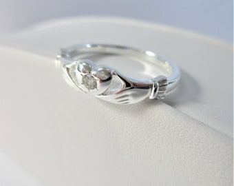 Claddagh Ring,Sterling Silver,Zircon,Size 7 & 8 Rings,faceted 3 mm gemstone,.5 ct zircon,.925 solid sterling,friendship wedding,sparkles NEW