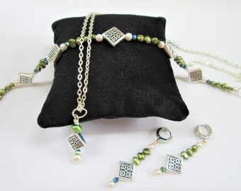 Celtic silver & green pearl earrings,bracelet,pendant,Celtic square knot bead,crystals,genuine green potato pearls,white pearls,silver chain
