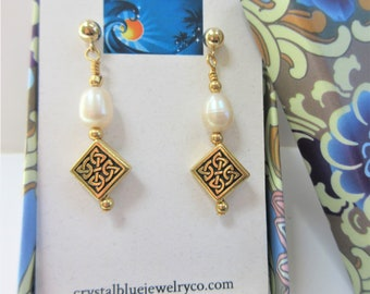 Celtic Knot Pearl Earrings,13 mm puff square Celtic knot,2 sided gold/silver drop ER w/oval white cultured pearls,14K gold/SS beads ear wire