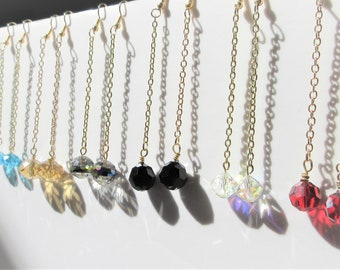 "Crystal Ball dangle chain earrings,4"" long swinging earrings,Gold chain Earrings,Choose 14k gold fishhooks,post,lever, Choose your Color"