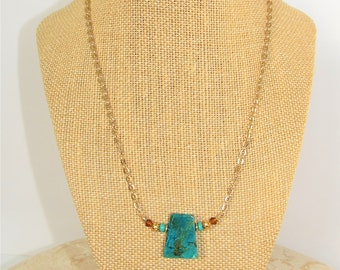 Chrysocolla Necklace,Natural Chrysocolla,Chrysocolla Briolette,Chunky Trapazoid,Cut Gemstone,Handwired beads and stone,Modern Teal Neckchain