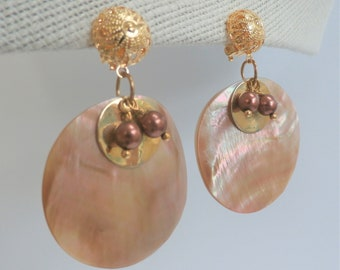 Shell Pearl Discs - and gold disc pierced earrings or gold clipped earrings, advise style when ordering.