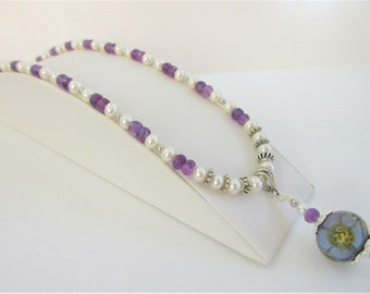 37 Amethyst 50 Pearl Necklace,18 inches,Hand Faceted stones,w/purple yellow Lamp work glass flower pendant,Sterling .925 spacer & lobster