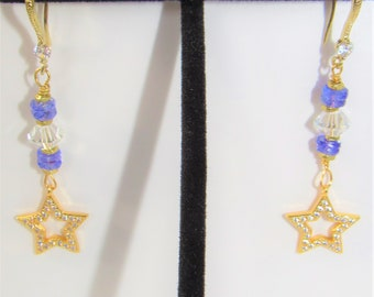Tanzanite Earrings,Heishi bead,Tanzanite,Gold Pave Stars,White Zircon,Facted Crystal, Faceted Tanzanite,14KGold Earrings,Handwired,Sparkling