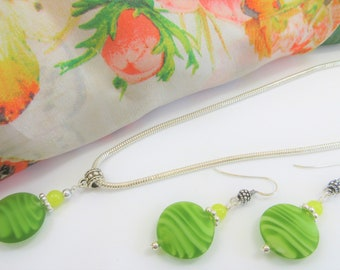 Lime Green Swirl frosted Lampwork glass bead earring and pendant set, w/sterling earring wires, beads and chain, 20 mm handmade glass beads
