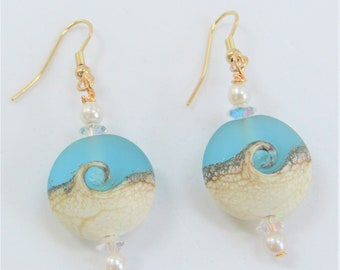 Beach Wave,Earrings Medium Teal,LampworkGlass Bead,Genuine Pearls,Choice Sterling Plated Hook,Gold Plated Hook, Matching Pendants Available