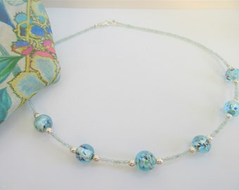 Genuine Aquamarine Lampwork necklace,faceted 2-3mm genuine aquamarine beads,6-12mm lampwork beads,w/925 sterling lobster claw,wedding pretty