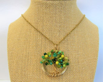 Tree of Life Beaded Pendant Hand-wired onto gold frame,Multi shades of green glass,gemstones,beads form the tree branches,26 inch gold chain