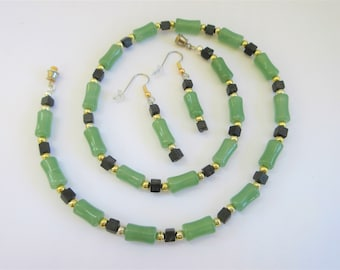 Chalcedony and Ebony Necklace Earrings,.925 beads,black wood cube beads,21 inch beaded necklace/ 1.5 inch earrings set, with SS ear wires