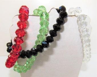 Crystal Bracelets,Stretch Crystal bracelet,7.5 size,Green Crystal,Black Crystal,Red Crystal,Clear Crystal,Fashion Crystal Bracelet,Medium SZ