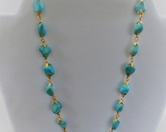 "Necklace Turquoise, Golden Nuggets - 10 mm genuine turquoise nuggets are linked with gold flowers, into an 18"" circle of beauty, 2"" extender"