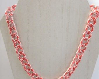 Enameled Chain Necklace, Red, White Star Flower pattern,20' doubled sided Heavy Chain Enameled Necklace,Gold swivel lobster clasp,Chain link