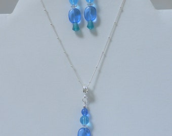 "Bead Necklace and earrings,Pebble Beach  - SET -18"" Pendant, matching pierced earrings-blue toned sea-glass,  silver chain w/3' extender"