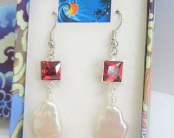 Garnet Swarovski Genuine Pearl Earrings,Pyramid faceted Garnet beveled, set in Silver, hand wired silver earwires, Natural Genuine pearls