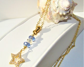 Tanzanite Colored,Pendant Crystal bead,Gold Pave Star,White Zircon Star,Facet Crystal,Faceted Tanzanite Color Bead,14KGold Plate bail/chain