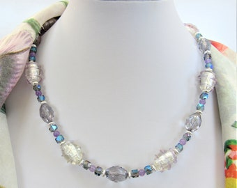 "Lavender Crystal Choker Necklace,Vintage Lampwork Spiral beads,Facet Ovals,Purple Jade Balls,Cut Crystal aurora cubes,Silver Rondelles,18"""