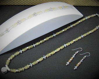 Lemon Quartz Jewelry 3 Pc. Set,countless carats facet rondelles,Sterling Silver Bead,ER wire,Leaf Hook,Magnet,Setting 8mm Bright White Topaz