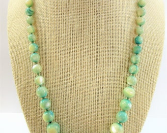 "Vintage Variegated mother of pearl beads Necklace, 22"" teal tinted pearl restrung beads,gold clasp. Cream (not yellow) with teal staining"