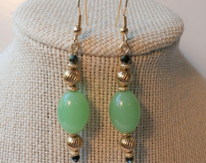 Featured listing image: Earrings, Green Chalcedony Olives- Tall- Chalcedony beads, top/bottom antique 14k gold beads, faceted crystal black/green, gold ear wires