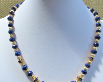 """Lapis Lazuli Gemstone Faceted Choker Necklace,Gold filled Corrugated Beads,Gold filigree spacers & Gold Plated Copper Leaf hook clasp,19.5"""""""