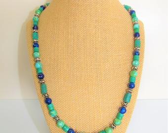 Turquoise Lapis Amazonite Necklace,Earring set,Lapis Lazuli Necklace,Sterling Beads,Gemstone Necklace,Lapis Turquoise,Gemstone,Howlite stone