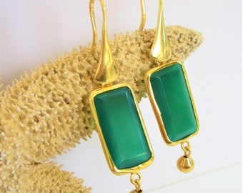 Green Onyx Facet Rectangle Earrings Gold Ball Dangles,Green onyx (dyed) and gold-finished sterling silver,22x13mm two-side faceted rectangle