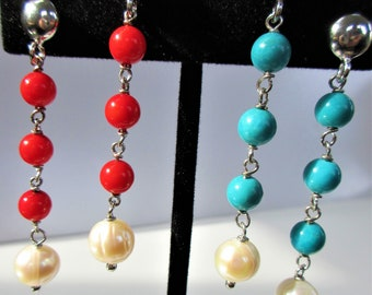 Genuine Red Coral/Turquoise Pearl ER,5mm Gemstone beads,SS Ball Post/Clutch Pierced,w/ Genuine 8mm Pearl beads.Beautiful color and quality
