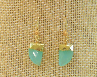 Gold Leafed Chalcedony Pendant Earrings,15x10mm, Gold Leafed faceted Horn shape,Hand applied 14K leaf,Gold & steel Earrings wire