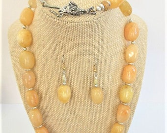 Golden Agate Necklace Earring Bracelet Set,Yellow Polished 20 mm Olive shaped beads,Silver fish clasp rondelle spacer beads Lobster Earwires