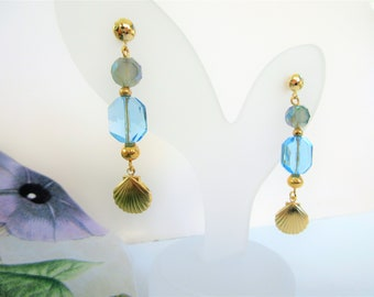 Blue Crystals and Gold scallop shell charms, Faceted blue crystal, gold beads,Dangle earrings w/ 14K gold posts,charm & wires,One of a kind