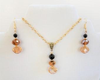 "Earring Pendant SET - Celtic Gold - Cut crystal bead, Celtic brass bail, gold filled 18"" chain"