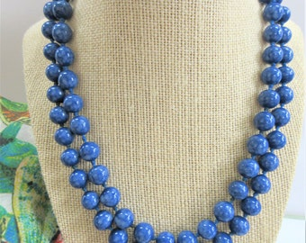 Variegated 10 mm Blue bead hand-tied necklace, Vintage European excellent glass bead strand, no closure, Marbled blue bead necklace strand