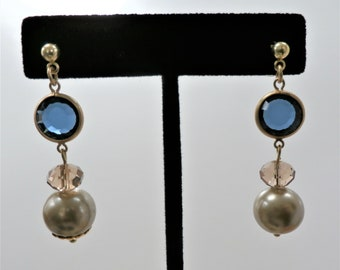 Blue glass Bead earrings, Blue Moon,faceted Blue glass, pearls , crystal and gold findings on post ear-wires, other ear wires available