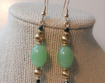 Green Chalcedony 14K gold Bead earrings,Pale green olive shaped Gemstones,w/antique gold beads,2 inch drop dangle fish hook 14K Gold finding