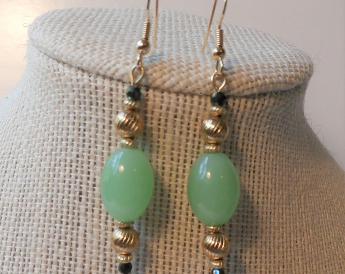 Featured listing image: Green Chalcedony 14K gold Bead earrings,Pale green olive shaped Gemstones,w/antique gold beads,2 inch drop dangle fish hook 14K Gold finding