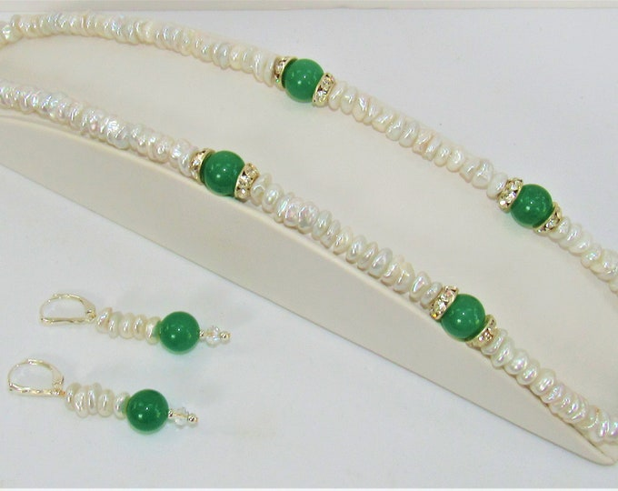 Featured listing image: White Keishi Pearl,Necklace Earring Set,7mm Keishi Pearl,Gold plate spacer,Rhinestone caps,Genuine Pearls,Green 10mm Jade,Swarovski Crystals