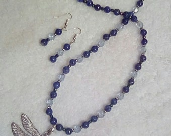 Large 3 in. Dragonfly 24 in.pendant,blue sodalite,blue aurora facet crystals, collar beads, removable pendant,sterling hook & ring