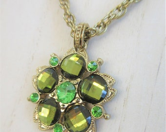 1928 Vintage Green Crystal medallion pendant necklace,gold chain & setting,Flower design, gold bail and chain, facet checkerboard Crystals