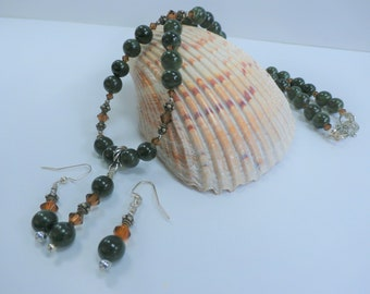 Green Bead Necklace and Earring Set, Agates designed with amber Swarovski bicone beads, Sterling accent beads,double hook, bail and earwires