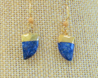 Gold Leafed Lapis,Lapis Lazuli,faceted Lapis Earrings,Gold Leaf,faceted Horn Earring,Hand applied 14K leaf,Gold Plate ER wire,Blue Gemstone