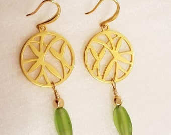 Gold Bamboo Green glass Earrings, Asian inspired with Green matte Sea-glass oval bead ,14K gold beads, hand wired  14K gold ear wire hook
