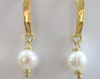 Gold hammered earrings with Honora White Pearls,14K Gold Thailand half hoops w/Genuine white pearls hand wired onto ER,Gorgeous Simplicity