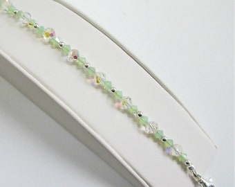 Faceted Aurora Borealis Crystal Bracelet,Sterling beads,pale green cut crystals,8.5 inches long,fit of average,Vintage beads,Sparkling Piece