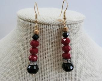 Pierced earrings,Ruby Faceted Bead sterling Silver stacks -  Cut crystal, black rhinestone bead drop