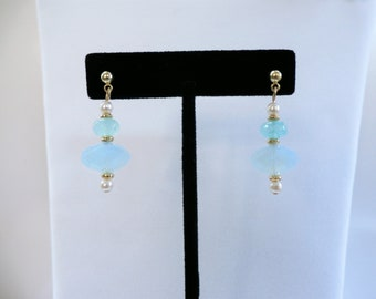 Sea-glass bead earrings, pale blue green, Lanterns with small hoop lever -  many pierced ear wire styles available,