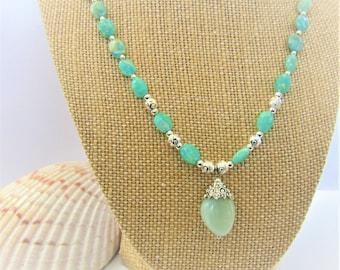 Amazonite Necklace,Aquamarine pendant,Silver beads&Bail,Lobster,Amazonite Beads,Aquamarine polished focal,Gemstone necklace,Aquamarine bead