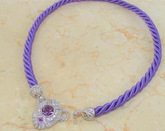 Judith Ripka,Amethyst Vintage Necklace,Purple Twist Cord,Silk Cord,endcaps,1.60 carats,Amethysts,cubic zirconias,Sterling Silver,Like New