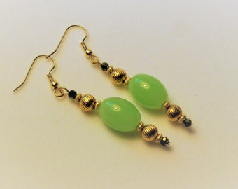 Green Chalcedony 14K Bead earrings,Pale green olive shaped Gemstones,w/antique gold beads,2 inch drop dangle fish hook 14K Gold finding