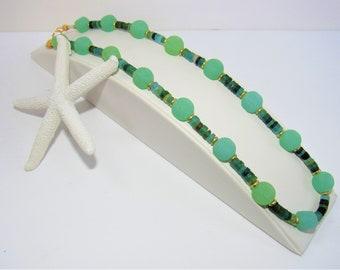 Seafoam Green Glass,Necklace,Handmade Beach Glass,frosted glass bead,Roman glass beads,Gold over Brass,Spacer beads,Choker,Gold Lobster Ring